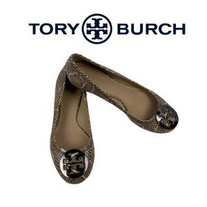 Tory Burch Leather Snake Skin Ballet Shoes. Sz 8.5